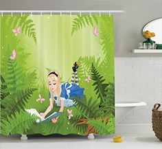 Ambesonne Alice in Wonderland Decorations Collection, Wonderland Alice Reading Book Forest Butterfly Nature Magic Love, Polyester Fabric Bathroom Shower Curtain Set with Hooks, Green Pink Blue #Ambesonne #Alice #Wonderland #Decorations #Collection, #Reading #Book #Forest #Butterfly #Nature #Magic #Love, #Polyester #Fabric #Bathroom #Shower #Curtain #with #Hooks, #Green #Pink #Blue