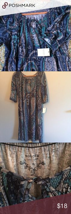 NWT, Sonoma Blue Teal Gray Paisley Dress size XL Brand New With Tags!!  Sonoma Blue, Teal and Gray paisley dress with 3/4 sleeves. Sonoma Dresses Midi