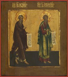 Holy Prophets Isaiah and Jeremiah Russian Orthodox icon Typical Russian, Prophet Isaiah, Russian Orthodox, Orthodox Icons, Holi, Website, Painting, Art, Religious Pictures