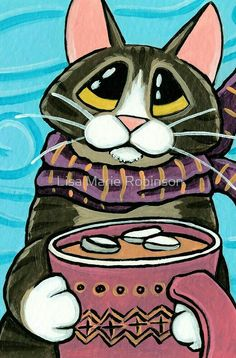 'Hot Chocolate and Marshmallows' by Lisa Marie Robinson I Love Cats, Crazy Cats, Cool Cats, Cat Cards, Here Kitty Kitty, Cat Drawing, Art Plastique, Cute Illustration, Animal Paintings