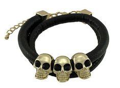 Zeckos Rounded Vinyl Double Wrap Bracelet with Gold Tone Skull Beads for sale online Link Bracelets, Bracelets For Men, Bangle Bracelets, Armor Ring, Metal Skull, Leather Wristbands, Skull Necklace, Beaded Skull, Black Rhinestone