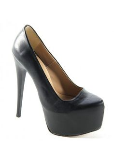 Siyah Deri Yüksek Topuklu Ayakkabı