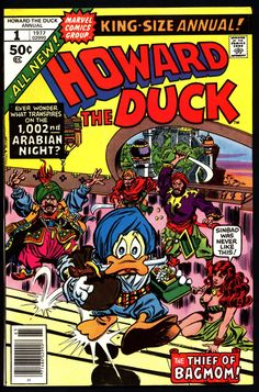 Marvel Comics HOWARD the DUCK King Size Annual #1 ARABIAN Nights Parody Steve Gerber Val Mayerik Existential Anthropomorphic Funny Animal