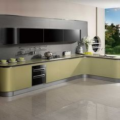 2014 new arrival acrylic kitchen cabinet oppein gold cabinets-op14