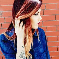 red and blonde ombre dark hair - Google Search