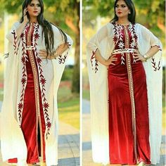Caftan red And white