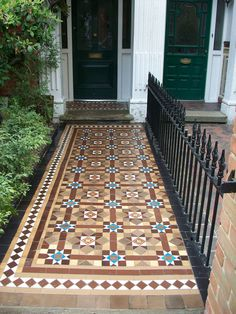 Rich Victorian tile pattern restored and cleaned. The path had suffered root damage from a nearby tree.