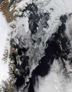 Ice in the Greenland Sea This is a natural-colour image of ice in the Greenland Sea. Thick tongues of glacial ice stretch over the fjords on the coast (left). Farther offshore, loosely packed floes of sea ice make swirling, paisley patterns in the Fram Strait between northeastern Greenland and Svalbard. The swirls are caused by winds and currents that steer the ice around the sea. Sea ice in the Arctic Ocean and surrounding seas is now approaching its annual minimum extent, which typically…