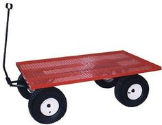 AMISH STEEL BED WAGON Red Utility Lawn Yard Garden Beach Picnic Pull Cart USA