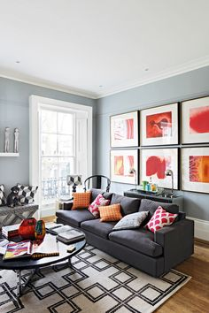 Brights Living room decor - The the bright colours in the cushions, it really brightens the room up!