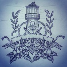 Lighthouse / anchor / roses tattoo sketch by - Ranz