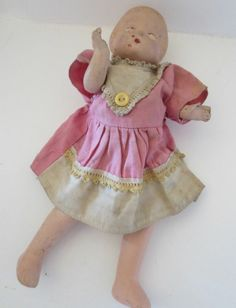 "Antique Composition 9"" Patsy Style Doll with Pink Dress Untouched"