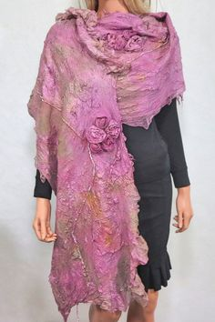 Felted  Scarf Nuno Felted Scarf Shawl Wrap chunky by RaisaFelt, $179.00