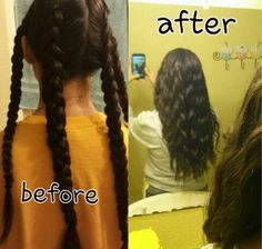 HOW TO: Making your hair wavy with braids! Braid your hair into multiple Dutch braids (basically backwards braids) Apply gel and hairspray and leave for ATLEAST 5 hours or overnight Undo braids and your all done! :) **better when hair is slightly damp** Wet Hair Overnight, Overnight Braids, Heatless Curls Overnight, Overnight Waves, Wavy Hair With Braid, Wavey Hair, Short Hair, Curl Hair Without Heat, Curls No Heat