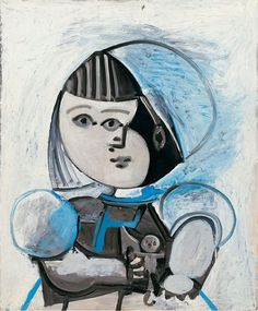 """""""Paloma et sa poupée"""" (Paloma and her Doll, 1952), by Pablo Picasso. Oil on plywood. Location: MoMA. Photo by Eric Baudouin - Art History - Cubism"""