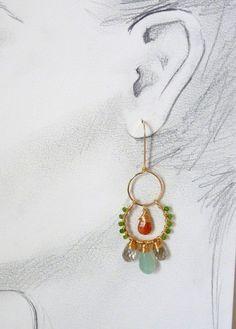 Unique artisan earrings  boho earrings  14k gold filled by Leoben, $185.00