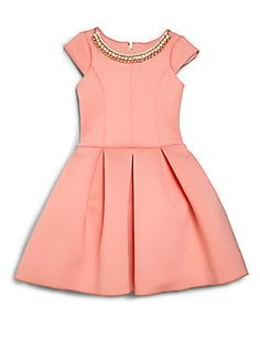 Zoe Girl's Chain-Embellished Neoprene Dress