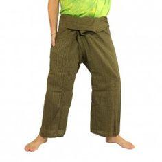 Pantalones pescador tailandés - de mezcla de algodón - verde