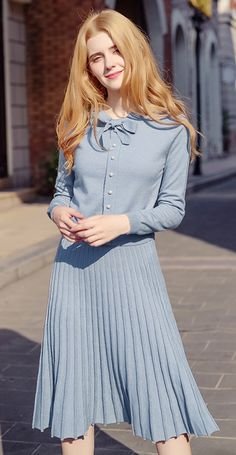 d5535666eb1e Knitted Suits Round Collar Bow Tie Pearly Sweater   Pleated Skirt 78937