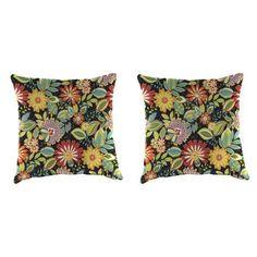 Jordan Manufacturing Outdoor 18 inch Square Toss Pillow Set, Musgrave Jungle, Multicolor