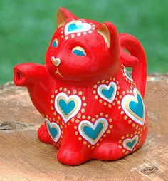 Decorative Hand-painted Red, Teal, and Gold Ceramic Lucky Cat Figurine, Planter, Vase