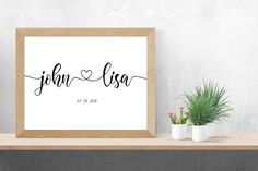 Custom couple names sign with heart print   personalized gift decor, wedding gift for couple, housewarming gift, printable wall art download by SmallMiraclePrints on Etsy