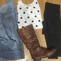 Denim and Polka Dots - Life in Style | #demin #ootd #outfit #college #ridingboots #boots #polkadots #girl #winter #fashion #blog #fashionblog
