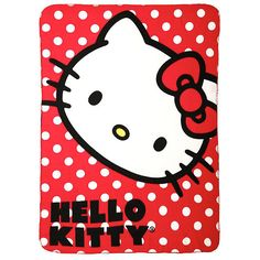 Hello Kitty Polka Dot Throw Hot Topic ($20) ❤ liked on Polyvore featuring home, bed & bath, bedding, blankets, polka dot bedding, hello kitty blanket, polka dot throw, red bedding and red throw blanket