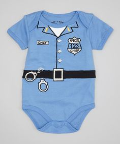 Wan-A-Beez Blue Embroidered Police Bodysuit - Infant | zulily
