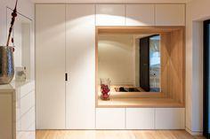 Closet, mirror, bench