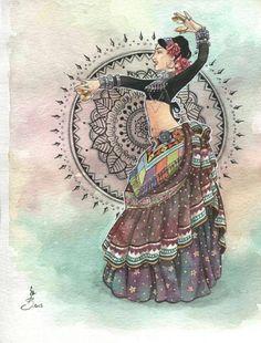 Dance Paintings, Indian Art Paintings, Dancing Drawings, Art Drawings, Art Articles, Indian Folk Art, Tribal Belly Dance, Tribal Fusion, Dance Art