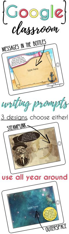 Google Classroom writing prompts are a must have resource in middle and high school classroom! No prin and no prep required, just sparkle your teen students with creativity and engaging writing prompts. Try these 195 WRITING PROMPTS - *AVAILABLE in 3 DESIGNS*. Use all year around not only as creative writing prompts but as conversation starters! | CrazyCharizma