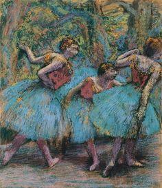 "Edgar Degas: ""Trois danseuses (jupes bleues, corsages rouges)"" – Drei Tänzerinnen (blaue Röcke, rote Mieder) –, um 1903, Pastell (Fondation Beyeler, Riehen/Basel Foto: Peter Schibli, Basel)"