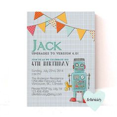 Robot Birthday Invitation - Boy Birthday Invitation - Butning Banner - Typography - No.175 on Etsy, $15.00