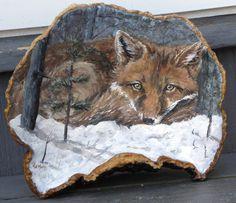 Hand Painted Red Fox on Artist's Conk Shelf Mushroom from Artist | eBay