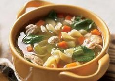 Turkey Noodle Soup with Spinach