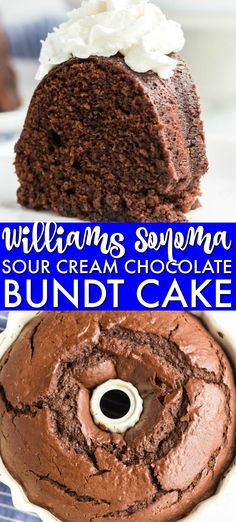 This rich, dense Sour Cream Chocolate Bundt Cake is a copycat of the famous Williams Sonoma recipe. Perfect for those chocolate cravings! | www.persnicketyplates.com #cake #bundtcake #chocolatecake #desserts Chocolate Pound Cake, Chocolate Recipes, Double Chocolate Chip Cookie Recipe, Easy Peanut Butter Cookies, Chocolate Chocolate, Sugar Cookies Recipe, Fun Desserts, Delicious Desserts, Cookie Desserts