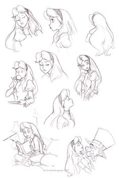 alice- little miss snob by `briannacherrygarcia I love the way she draws expressions! Disney Sketches, Disney Drawings, Drawing Disney, Character Concept, Concept Art, Character Design, Arte Disney, Disney Fan Art, Adventures In Wonderland