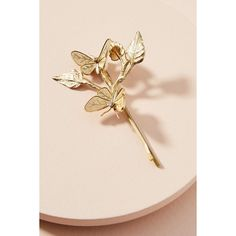 Miss Ellie Monarch Bobby Pin ($128) ❤ liked on Polyvore featuring accessories, hair accessories, gold, bobby hair pins, gold hair pins, gold hair accessories, vintage hair pins and butterfly hair pins