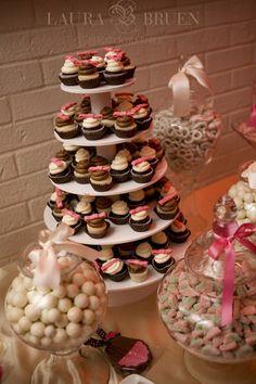 Pink Bow Wedding Cupcake Stand