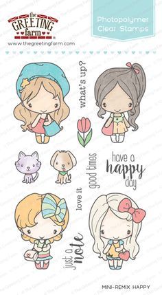 The Greeting Farm - Mini-Remix Happy Clear Stamps - deal deal Bird Template, Doodle People, Have A Happy Day, Ink Pads, Digital Stamps, Cute Illustration, Clear Stamps, Easy Drawings, Cute Wallpapers