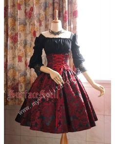Surface Spell Dark Prints High Waist Lolita Skirt $61.99-Cotton Lolita Dresses…