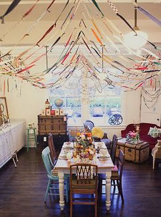 streamers ...a way to use scrap fabric. Image from Scout Vintage Rentals (via pinterester Elsie via Apartment Therapy)