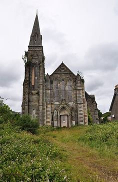 The derelict St. George's church in Lamlash, Isle of Arran, Scotland. It is on the seafront and has been abandoned since 1947                                                                                                                                                     More