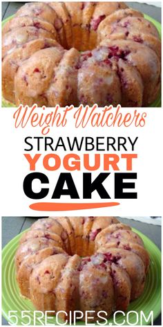 Fresh Strawberry Bundt Cake Recipe (Video) - A Spicy Perspective - Weight Watchers Strawberry Yogurt Cake Recipe . Strawberry Yogurt Cake, Strawberry Cake Recipes, Recipes With Yogurt, Weight Watchers Strawberry Shortcake Recipe, Desserts With Yogurt, Strawberry Muffins Healthy, Strawberry Delight, Weight Watchers Cake, Weight Watchers Desserts