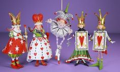 Playing Card Ornaments, Set of 5 (front view)