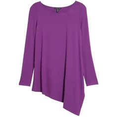 Eileen Fisher Bateau Neck Asymmetrical Jersey Tunic (£43) ❤ liked on Polyvore featuring tops, tunics, boat neck tops, purple jersey, boat neck tunic, scoop neck tunic and purple tunic