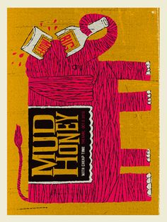 MUDHONEY -ELEPHANT SCREEN PRINT « Limited Edition Gig Posters « Methane Studios