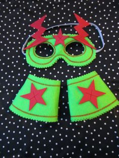 Green and red Superhero mask and cuffs for by knittedswimsuit, £8.00