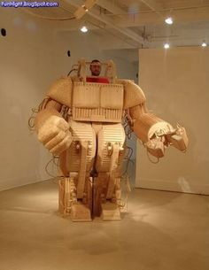 A robot. Made out of wood.